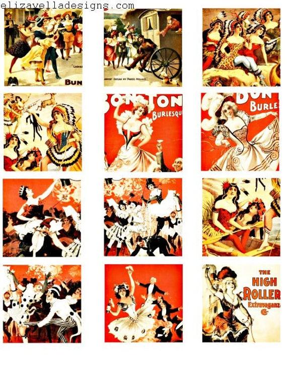 vintage burlesque exotic dancers show girls strippers 2.25 inch squares collage sheet clip art digital download printable graphics images