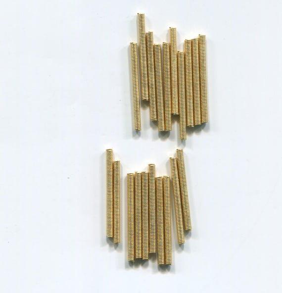 12 metal bugle spring tube beads LOT gold metal beads 35mm x 1mm