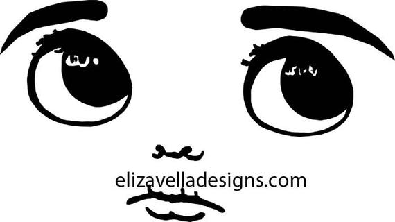 cute big eye boy doll face clipart png digital Image clip art graphics Download eyes lips JPG PNG  digital stamp black and white printables
