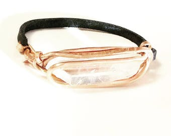 Men's Quartz & leather statement bracelet