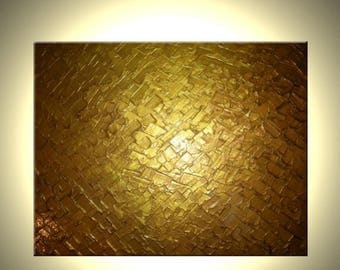 Abstract Gold Original Painting Sale 22% Off - FREE SHIPPING
