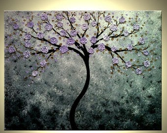 Abstract Floral Tree PAINTING - Contemporary Impasto Art - XLarge ORIGINAL Painting - Gallery wrap canvas - Purple Floral Tree Art - 40x30
