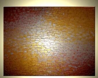Original Abstract Gold Painting, Palette Knife Art, ORIGINAL Bronze Metallic Textured by Lafferty - 36X48, Sale 22% Off Sale