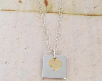 Sterling Silver Chain Necklace Square Tag Charm Tiny Heart Charm