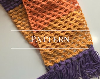 Ocean Waves Crochet Scarf pattern, Easy lacy scarf with fringe