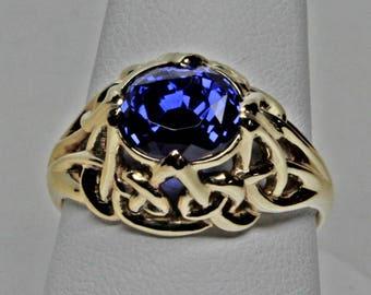 Fine Ceylon 3.99 ct Sapphire Ring In 18K Size 7 1/4