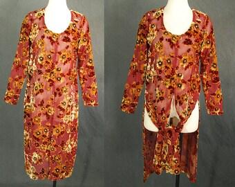 vintage 90s Burn Out Velvet Dress - Beaded Velvet Tunic Top Dress Sz S