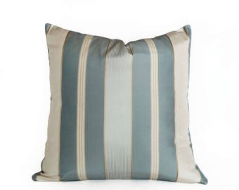 Blue Cream Striped Pillow Cover, Luxury Silk Pillow, Blue Contemporary Pillow, Light Slate Blue Gold Striped Cushion Covers, 18x18
