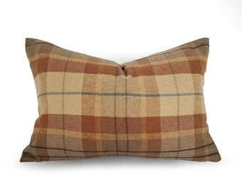 Tan Plaid Pillow, Wool Pillow, Lake House Decor, Wool Plaid Pillow, Tan Pillow Cover, Textured Cashmere, Modern Farmhouse, 12x18, 18, 20