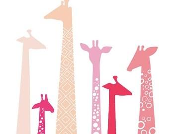 "SUMMER SALE 16X20"" giraffe silhouettes giclée print on fine art paper. pink, magenta, fuchsia, lavender."