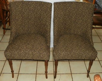 Pair of Mid Century Leopard Print Slipper Decorator Chairs / Side chairs (SC92)