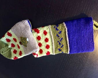 Hand Knit Christmas Stocking/Hand Knit Stocking/Knit Xmas Stocking/Holiday/Christmas Stocking/Hand Knit/Multi Colored Hand Knit Stocking