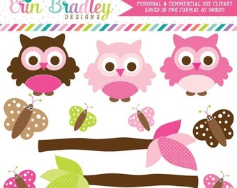 50% OFF SALE Pink Owl Clipart Butterflies and Tree Branches Commercial Use Digital Clip Art