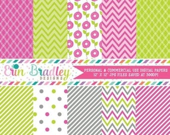 80% OFF SALE Commercial Use Digital Papers Pink Lime Green & Gray Chevron Stripes Flowers Polka Dot Background Patterns