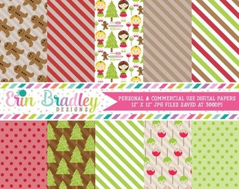 80% OFF SALE Christmas Cookie Exchange Holiday Digital Paper Pack Instant Download