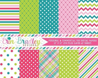 80% OFF SALE Digital Paper Pack Personal and Commercial Use Pink Blue and Green Medley