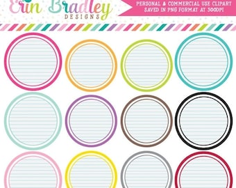 80% OFF SALE Notepaper Circles Clipart Clip Art Personal & Commercial Use Digital Scrapbooking