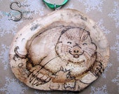 Smiling Mole Wood Ornament - pyrography, wood burned by hand, rustic, ready to hang, Christmas, holiday, nature decor