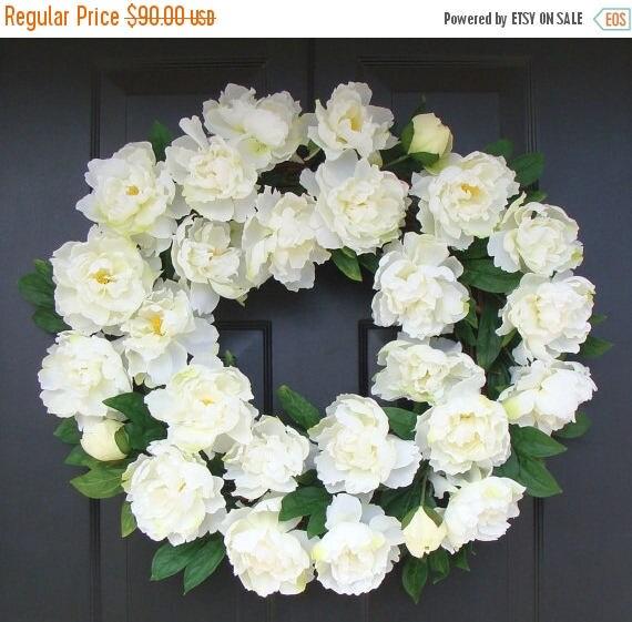 SUMMER WREATH SALE White Summer Wreath- Wedding Wreath- White Peonies- Peony Wreath- Wedding Decor- Summer Wreath Decor- 24 Inch Year Round
