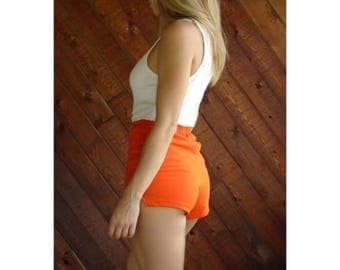 20% off SUMMER SALE. . . Bright Orange Jersey Dolphin Hot Shorts - Vtg 80s - XS