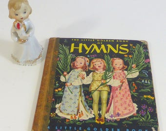 Vintage 1947 The Little Golden of Hymns with Vintage Ceramic Angel with Candle Childrens Hymns Religious Songs Christian Songs for Children