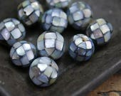 Mosaic Shell Beads Black Lip Shell with AB Flash Hand Made 12mm Shell Beads (6) CL37