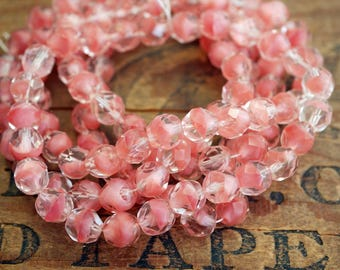 Faceted Glass Bead Givre Pink Crystal 8mm Firepolish Glass Bead Vintage (25)