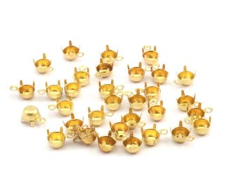 Round Prong Setting, 250 Raw Brass Round 1 Loop, 4 Prong Settings For Ss19 4.5mm/4.6mm Rhinestones S408