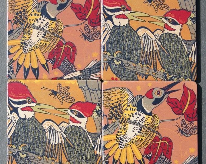 Woodpecker, pileated, flicker, wood coasters, design by Jenny Pope