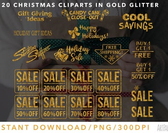 Christmas Gold Glitter Clipart Marketing Holiday Cliparts