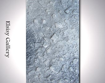 Original large abstract painting heavily textured wall art deco gray by Elsisy 45x25 Sale