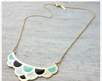 On Sale 40% off, Colorful Waves Necklace, enamel pendant jewelry, waves, ocean theme