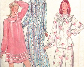 Vintage NIGHTGOWN PAJAMAS Sewing Pattern 1980s Sleepwear PJs & Nightgowns