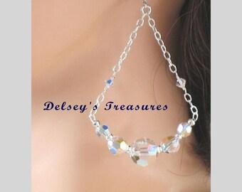 Sterling Silver Faceted Swarovski Chandelier Bridal, Wedding Earrings, Sparkling Dangle Earrings