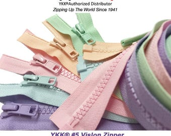 5 Assorted Colors Sport YKK® #5 Vislon Jacket Zipper Medium Weight Molded Plastic - Separating - Pick Your Theme