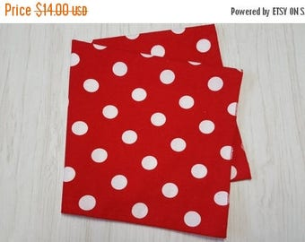 SALE Cloth Napkins White Dots on Red Set of 4
