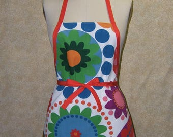 Color riot apron red tie cotton light weight canvas chef style rainbow bright colorful cheery cute fun dots arranged as flowers