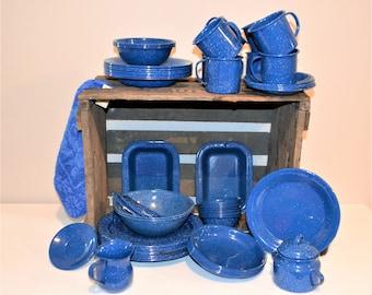 Vintage Blue Speckled Enamelware / Granitware Over 60 Pieces Serving