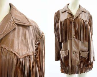 Fringe Leather Jacket  / Vintage / 1970's / Retro / Chestnut Brown / Unisex