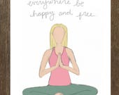 May All Beings Everywhere Be Happy and Free - Yoga Pose Greeting Card // Yoga Card // Blank Inside // Seated Meditation Card // Yoga Gifts