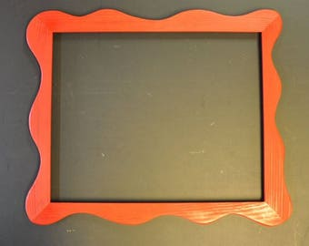 11x14 Funky Picture Frame Painted Red with Mounting Hardware