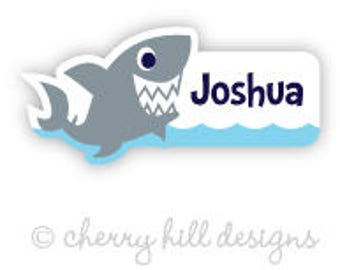 shark Mini die cut labels 1.5 inches wide - seen in Parents Mag and Family Fun Mag - waterproof label - does not fade - dishwasher safe