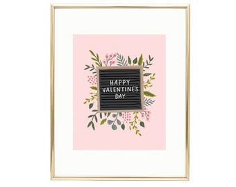 Happy Valentine's Day Letter Board Wall Art Floral Print