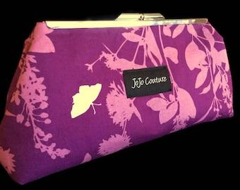 The Olive Clutch by JoJo Couture in Purple Silhouette Birds Butterflies