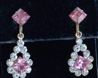 On sale Pretty Vintage Pink, Clear Rhinestone Dangle Screw back Earrings, Gold tone (I12)