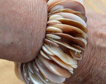 On sale Beige Shell Elastic Bracelet, Vintage, Beach, Tropical, Island