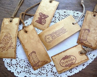 Hang Tags, Coffee Stained Tags, Unique Hang Tags, Primitive, Gift Tags, Strings, Six Hang Tags, Handmade, Sampler Tags, Price Tags, Supplies