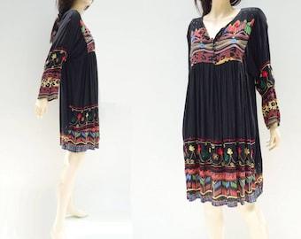 Black Ethnic Dress Embroidered Dress Vintage Boho Dress Ethnic Mexican Dress Mexican Black Dress Black Boho Dress 1980s One size Fits S to L