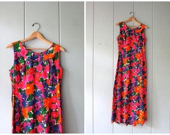 60s Floral Hawaiian Dress Vintage Orange Pink Mod Dress Hawaii Maxi Dress Retro 70s Long Cotton Sundress Resort Tiki Dress Womens Small