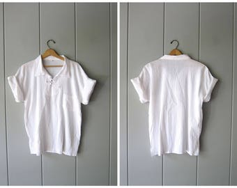 Natural White Cotton Gauze Shirt Short Sleeve Ethnic Top Minimal Textured Cotton Beach Shirt Mexican Lace Up Collared Tee Mens Large